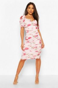 BOOHOO Mesh Floral Long Sleeve Ruched Midi Dress in White