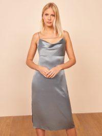 Reformation Meta Dress Dusty Blue