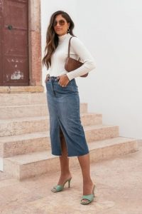 Kae Sutherland x NA-KD Blue Midi Denim Skirt | pencil skirts