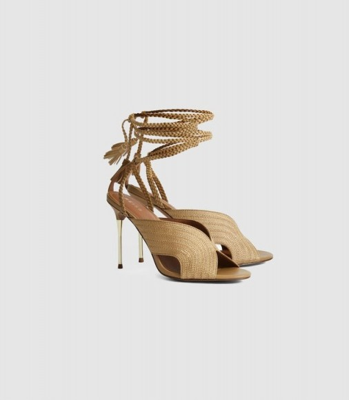 REISS MINERVA BRAIDED ANKLE STRAP SANDALS GOLD ~ luxe strappy heels