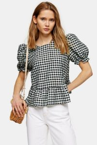 Topshop Mint Check Bow Back Puff Blouse | gingham blouses