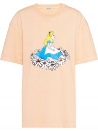 MIU MIU Alice in Wonderland-print oversized T-shirt in apricot-orange