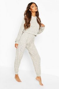 boohoo Mix & Match Slub Lounge Hoodie Cream
