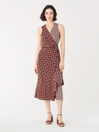 Diane von Furstenberg Moira Stretch-Georgette Midi Wrap Dress in Geo Tiles Lg/3d Chain Paprika / DVF fashion