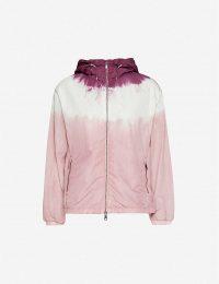 MONCLER Olive pink dip-dye print shell jacket