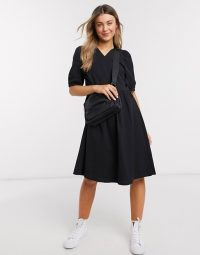 ASOS Monki Yoana puff short sleeve tie wrap dress in black