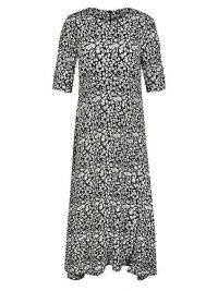 OLIVER BONAS Mono Ditsy Floral Print Midi Dress