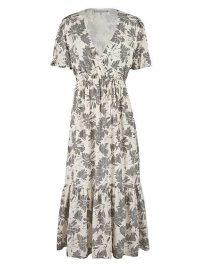 OLIVER BONAS Mono Gingham & Floral Print Midi Wrap Dress