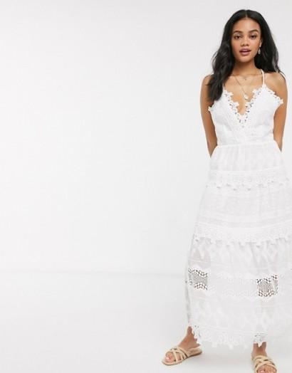 Moon River lace midi dress in white