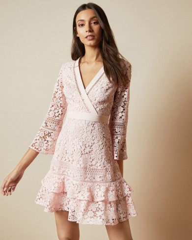 TED BAKER NELLO Multi lace V neck tunic dress in baby pink