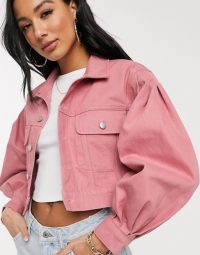 NA-KD puff sleeve oversized denim jacket in dusty rose