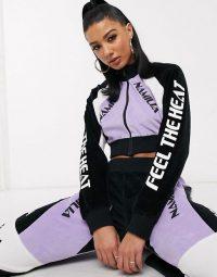 Namilia cropped velour co-ord in purple / logo printed sports co-ords / slogan fashion