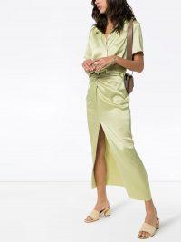NANUSHKA Samara slit skirt ~ delicate shades of green