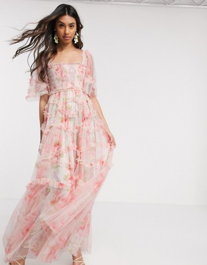 Needle & Thread smocked maxi dress in spring rose print / romantic pink occasion gown