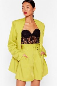 NASTY GAL Never Follow Suit Longline Belted Shorts in Chartreuse