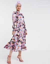 Never Fully Dressed long sleeve fluted sleeve maxi dress in pink floral print / ruffle trimmed dresses