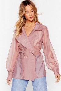 NASTY GAL New 'Round Sheer Organza Wrap Blouse