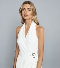 REISS NICO KNITTED HALTER NECK TOP WHITE ~ classic halterneck tops