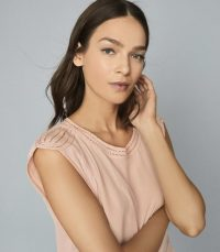 REISS NOAH EMBROIDERED DETAIL SLEEVELESS TOP PINK ~ detailed shoulders and neckline