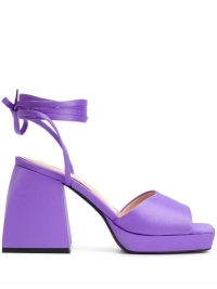 NODALETO Purple leather ankle strap sandals / chunky heels