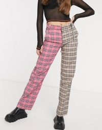 O Mighty cargo trousers in retro check with chain / tonal pink pants