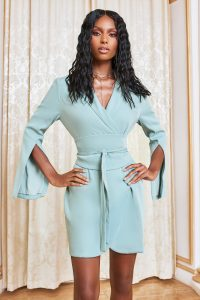 lavish alice obi belted blazer mini dress in sage green