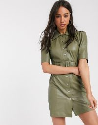 ASOS Object leather shirt dress in sage
