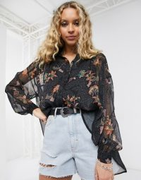 Object shirt in paisley print ~ black relaxed fit blouses
