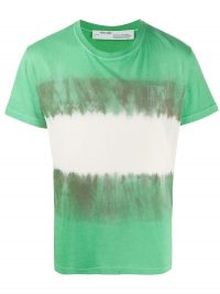 OFF-WHITE Arrow tie dye skinny T-shirt / men's green t-shirts