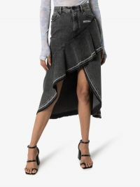 Off-White Asymmetric Ruffle Denim Midi Skirt in Grey
