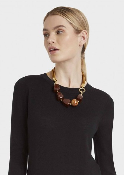 HOBBS OLIVE NECKLACE BROWN / statement necklaces - flipped