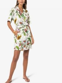 Olivia von Halle Emeli Blanche Floral Print Silk Pyjama Set in White / shirt and shorts pyjamas