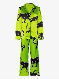 Olivia von Halle Lila Hades Printed Silk Pyjama Set in Green / panther prints / bright pyjamas