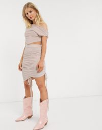 Rave Outfits Women – One Above Another mini skirt with ruching in glitter co-ord – asos