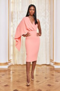 lavish alice one shoulder caped midi dress in cantaloupe – cape style dresses