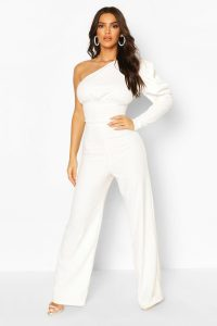 One Shoulder Puff Sleeve Jumpsuit – boohoo
