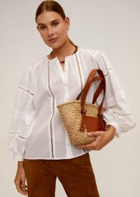 MANGO Openwork detail blouse off-white REF. 67044765-VENECIA-I-LM