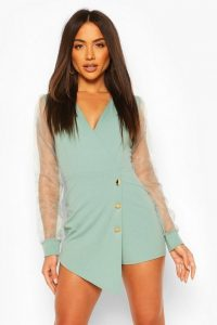 BOOHOO Organza Sleeve Blazer Playsuit in Mint – green asymmetric playsuits