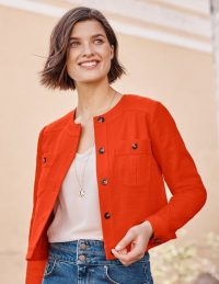 BODEN Paget Textured Crop Jacket Orange Sunset / bright summer jackets