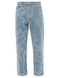 MARTINE ROSE Paint-stroke straight-leg jeans / mens patterned jeans