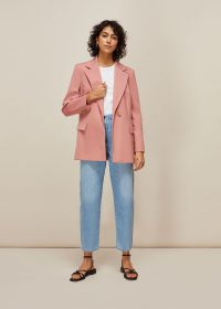WHISTLES SANA SINGLE BREASTED BLAZER PALE PINK – suit jackets