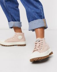 Palladium Pallashock chunky flat ankle boots in pink