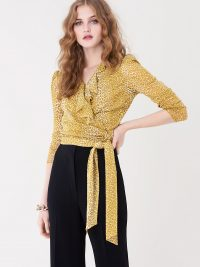 Diane von Furstenberg Paloma Ruffled Mesh Wrap Top in Serval Light Daydream / DVF tops