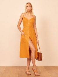 Reformation Parke Dress in Ochre | thin strap dresses