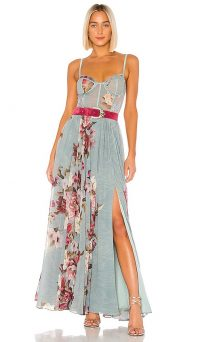 PatBO Peony Bustier Maxi Dress Soft Blue