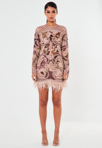 Missguided peace + love pink devore feather embellished bodycon dress – luxe occasion dresses