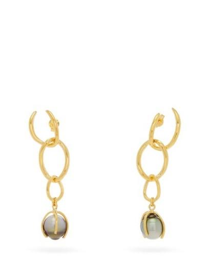 RYAN STORER Pearl-drop 14kt gold-plated earrings | chain link drops
