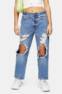 Topshop PETITE Mid Blue Ripped Dad Jeans | destroyed | distressed