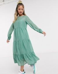 Pieces midi smock dress in green grid check