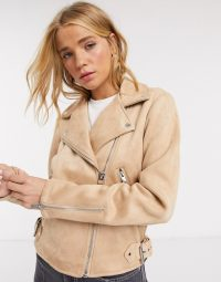 Pimkie faux suede biker jacket in beige – neutral outerwear